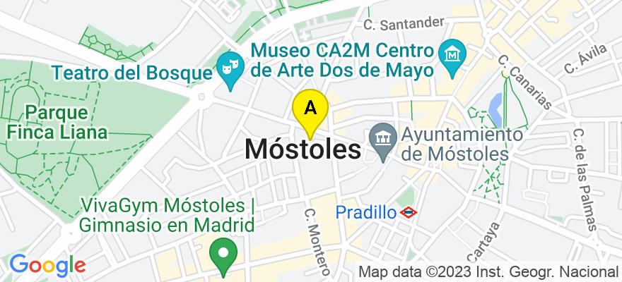 situacion en el mapa de . Direccion: Avenida de la Constitución nº 37, 1ª planta, 28931 Móstoles. Madrid