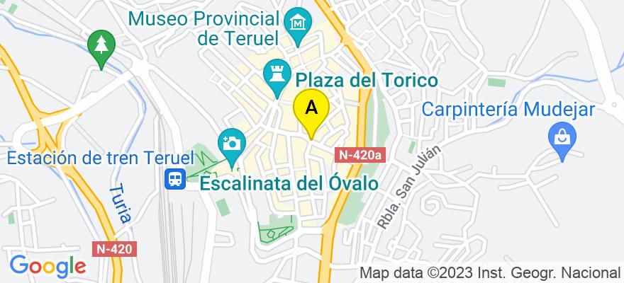 situacion en el mapa de . Direccion: Plaza del Bretón, 6, Teruel, 44001 Teruel. Teruel