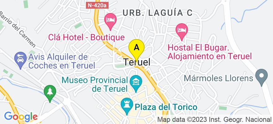 situacion en el mapa de . Direccion: calle Amantes 6 2ª planta Puerta 4, 44001 Teruel. Teruel