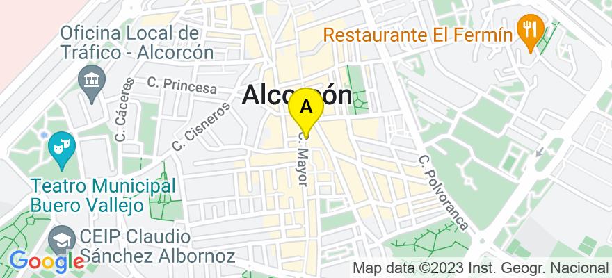 situacion en el mapa de . Direccion: Calle Mayor  57, 28921 Alcorcón. Madrid
