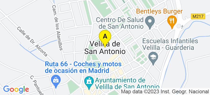 situacion en el mapa de . Direccion: calle iglesia n º16 local 2, 28891 Velilla de San Antonio. Madrid