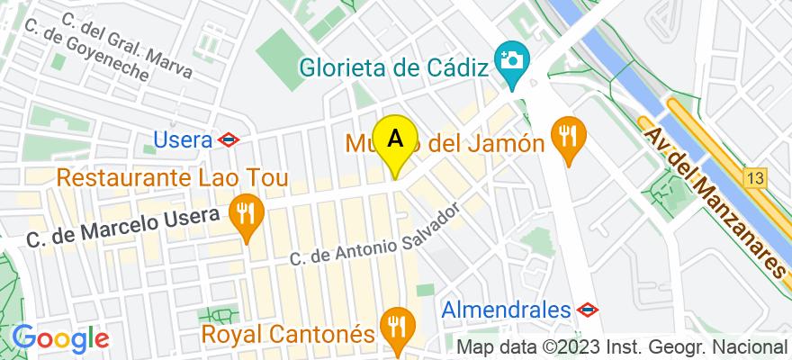situacion en el mapa de . Direccion: c/ Marcelo Usera nº 42, 1º C, 28026 Madrid. Madrid