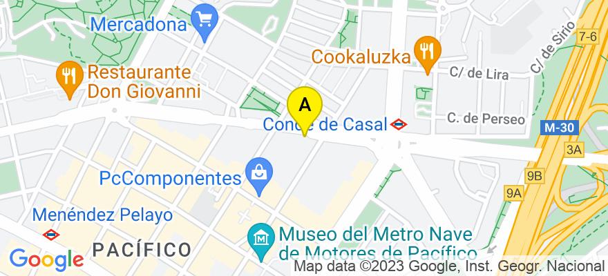 situacion en el mapa de . Direccion: Avenida del Mediterráneo 30, 28007 Madrid. Madrid