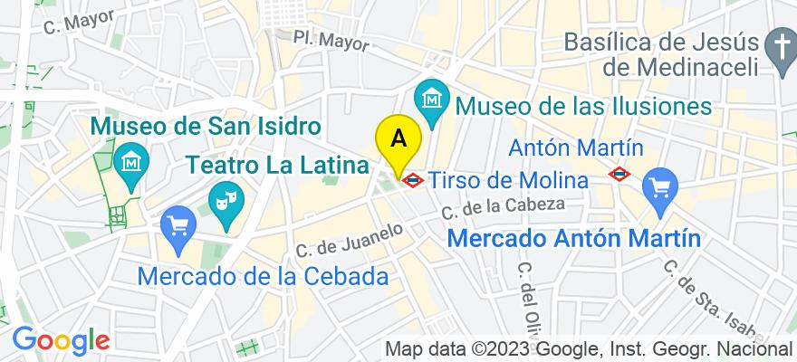 situacion en el mapa de . Direccion: C/Conde de Romanones nº 8. 1º izqda (Metro Sol-Tirso de Molina), 28012 Madrid. Madrid