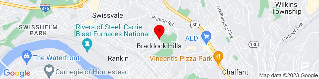 Google Map of 40.41722222222222, -79.865