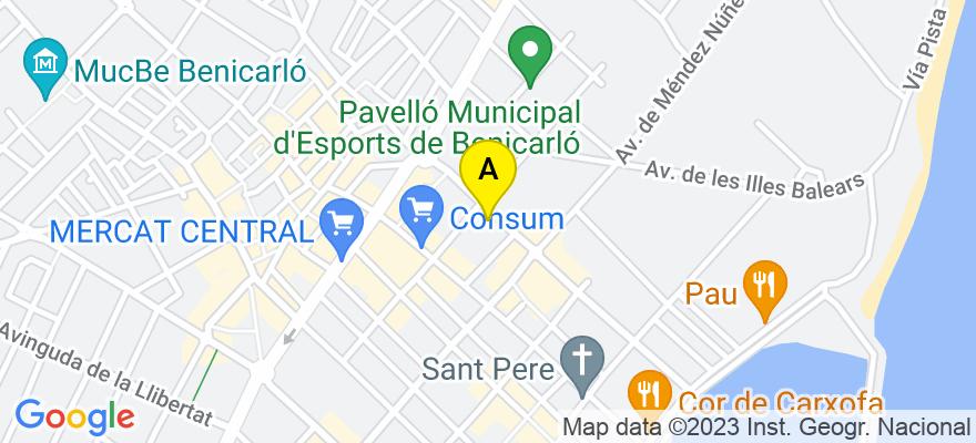 situacion en el mapa de . Direccion: Méndez Núñez, 42, 12598 Benicarló. Castellón de la Plana