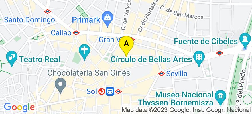 situacion en el mapa de . Direccion: Calle montera 32. 6º 9, 28013 Madrid. Madrid