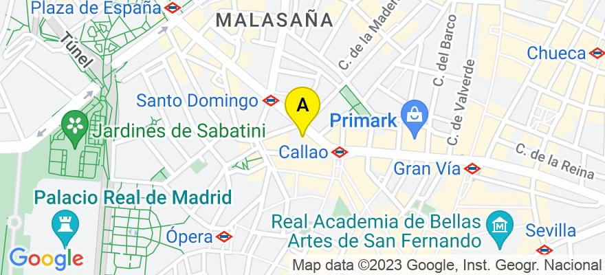 situacion en el mapa de . Direccion: Calle Gran Vía 43, piso 2, oficina 2C, 28013 Madrid. Madrid
