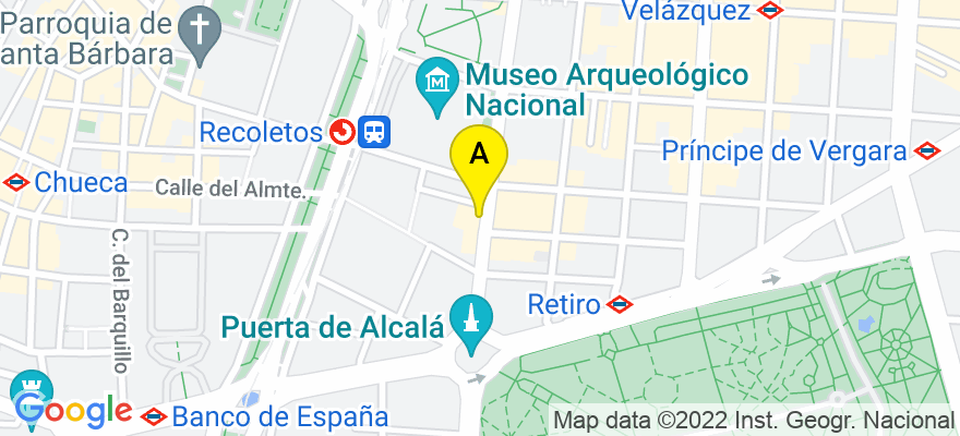 situacion en el mapa de . Direccion: Calle Serrano 9, 28001 Madrid. Madrid
