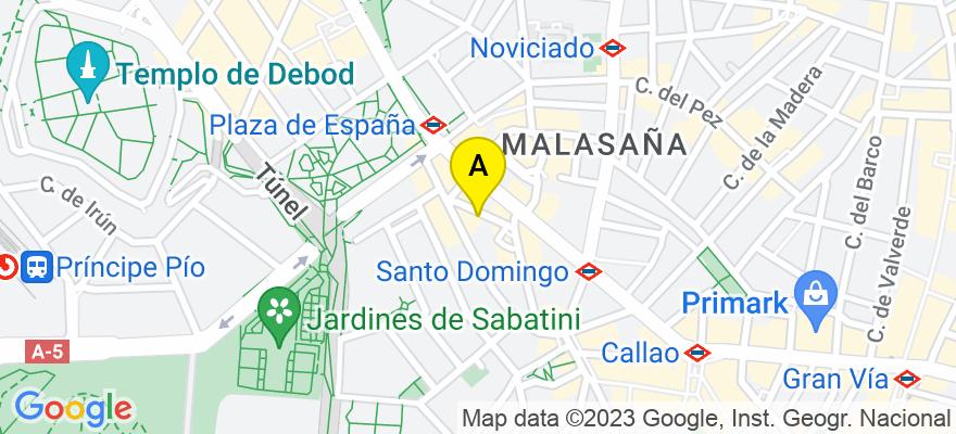 situacion en el mapa de . Direccion: c/ Flor Baja nº 7, 1º A, 28013 Madrid. Madrid