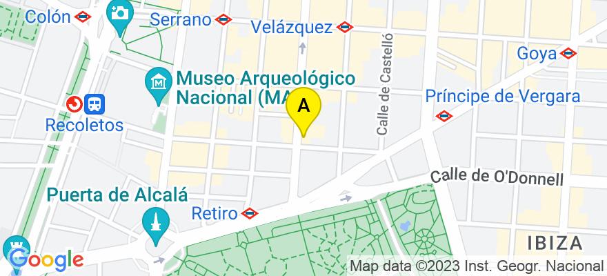 situacion en el mapa de . Direccion: Calle Velázquez 10, 1º, 28001 Madrid. Madrid