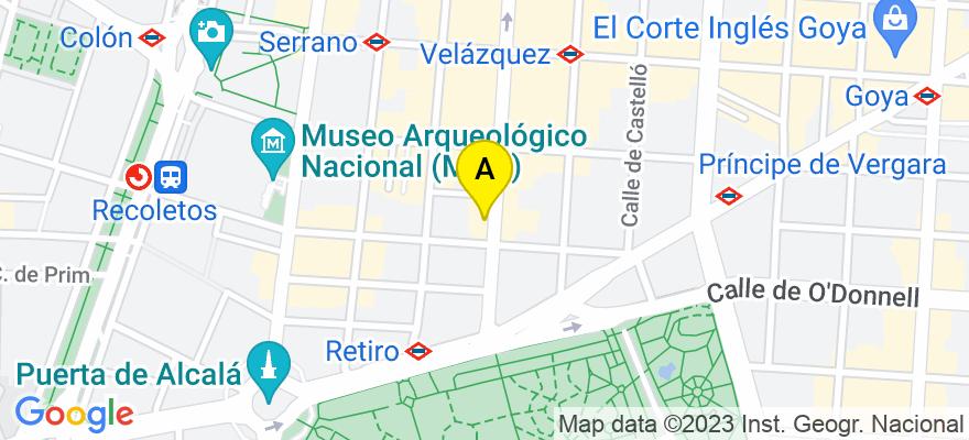 situacion en el mapa de . Direccion: c/ Velázquez 15, 1º (derecha), 28001 Madrid. Madrid