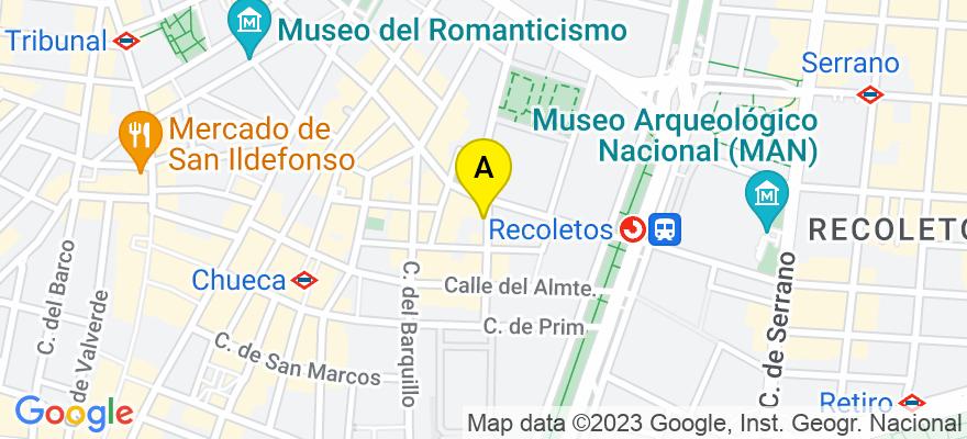 situacion en el mapa de . Direccion: C/ Conde de Xiquena 15 bajo D, 28004 Madrid. Madrid