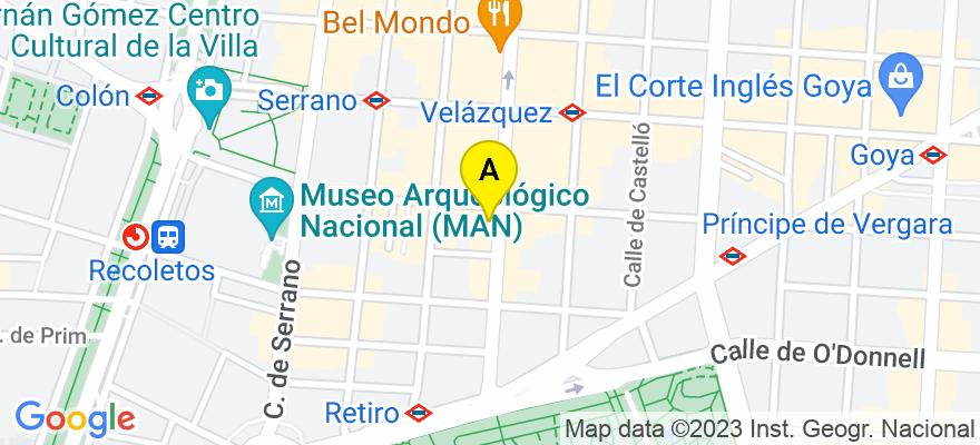 situacion en el mapa de . Direccion: C/ Velázquez, 21, 28001 Madrid. Madrid