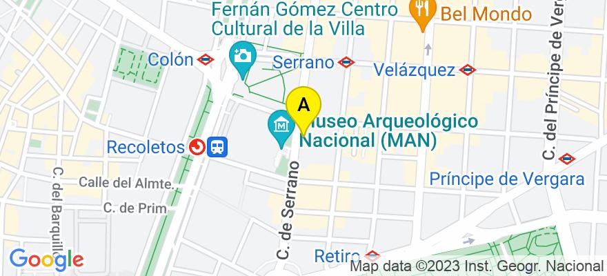 situacion en el mapa de . Direccion: Calle Serrano 22, 28080 Madrid. Madrid