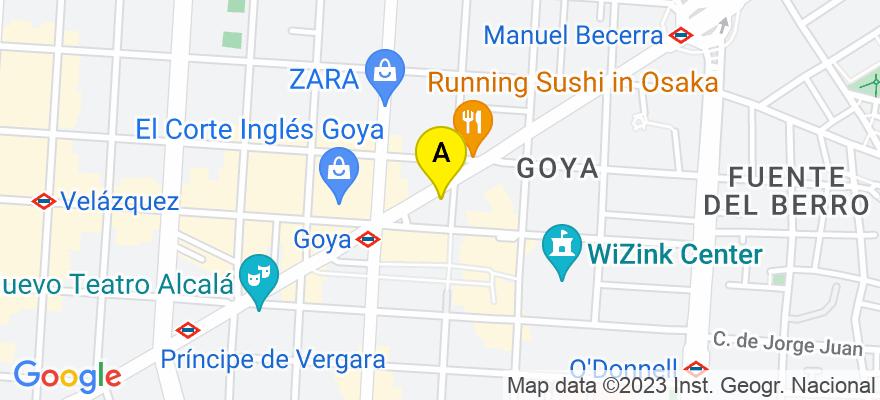 situacion en el mapa de . Direccion: C/Alcalá 104, 28009 Madrid. Madrid