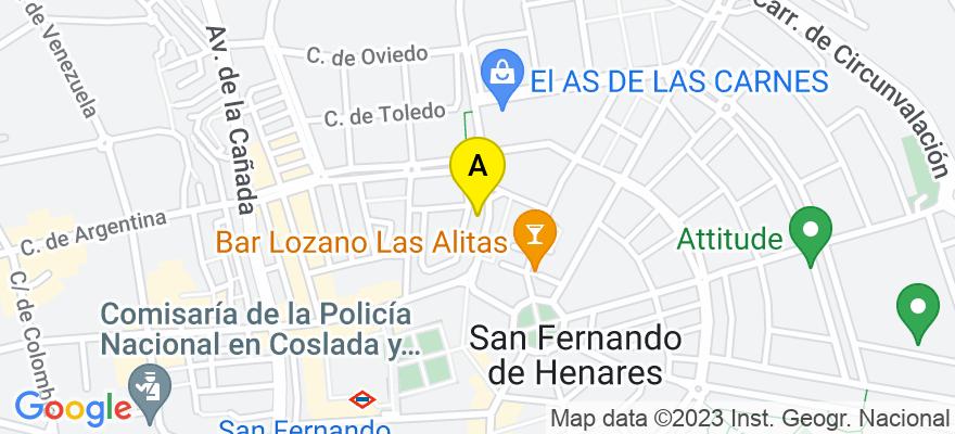 situacion en el mapa de . Direccion: C/ Córdoba 7 - 2A, 28830 San Fernando de Henares. Madrid