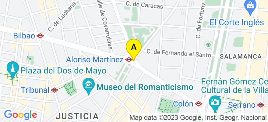 situacion en el mapa de . Direccion: PLAZA ALONSO MARTÍNEZ, 6, 2ª, 28004 Madrid. Madrid