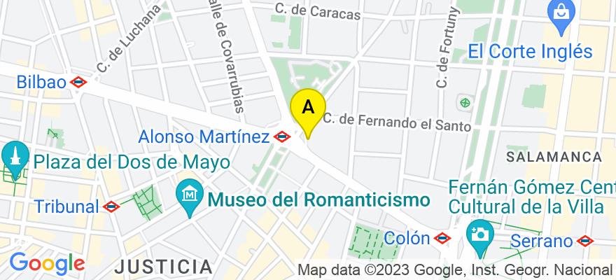 situacion en el mapa de . Direccion: Plaza Alonso Martínez, 6, 28004 Madrid. Madrid