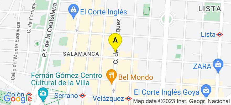 situacion en el mapa de . Direccion: C/Velázquez 53, 2 izqd, 28001 Madrid. Madrid