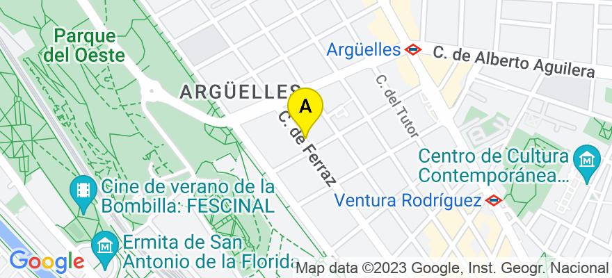 situacion en el mapa de . Direccion: C/Ferraz, nº 2, 2º Izquierda, 28008 Madrid. Madrid