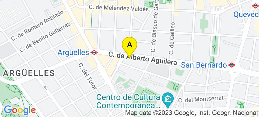 situacion en el mapa de . Direccion: calle Alberto Aguilera nº 33, 1º, 28015 Madrid. Madrid