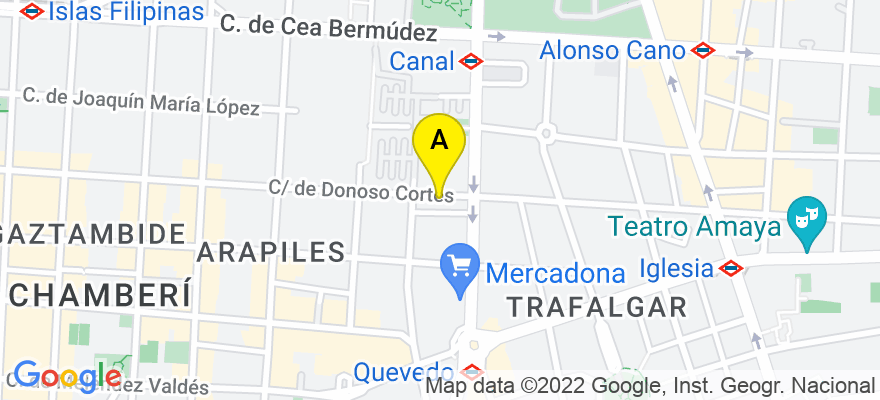 situacion en el mapa de . Direccion: c/ Donoso Cortés, 3, Bajo B, 28015 Madrid. Madrid
