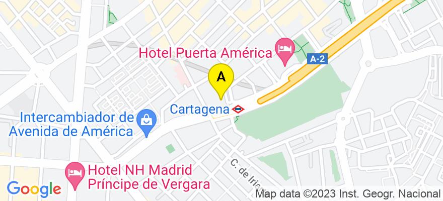 situacion en el mapa de . Direccion: Avenida América 35, 3º Piso Puerta 8, 28002 Madrid. Madrid