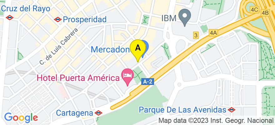 situacion en el mapa de . Direccion: Avenida de America 45, 1º A, 28002 Madrid. Madrid