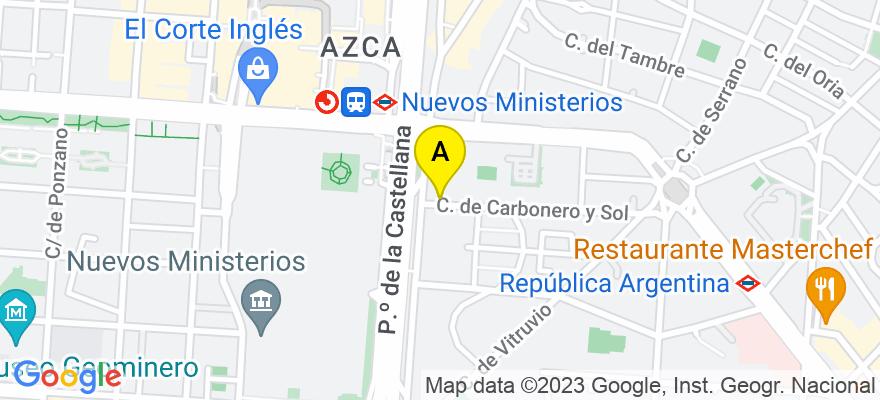 situacion en el mapa de . Direccion: CALLE CARBONERO Y SOL 1, BAJO, 28006 Madrid. Madrid