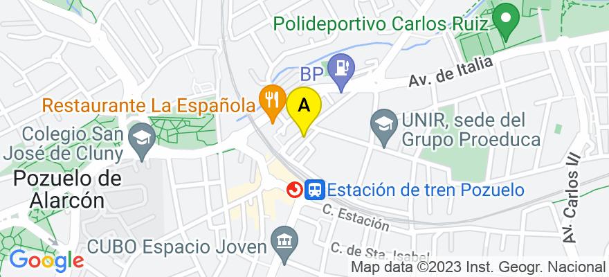 situacion en el mapa de . Direccion: Avda. Leopoldo Calvo Sotelo Bustelo, 6, 28224 Pozuelo de Alarcón. Madrid
