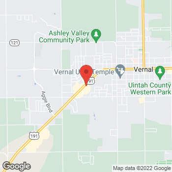 Map of Arby's at 1141 W Hwy 40, Vernal, UT 84078