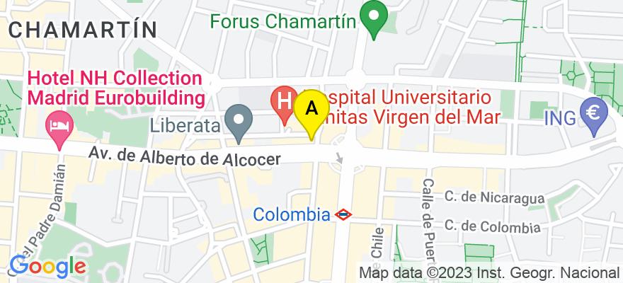 situacion en el mapa de . Direccion: avenida alberto alcocer 49, 28016 Madrid. Madrid