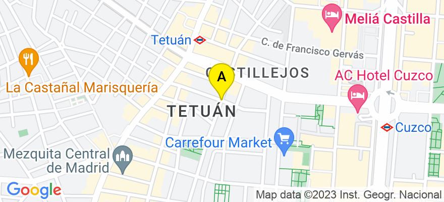 situacion en el mapa de . Direccion: Calle Pensamiento, 28020 Madrid. Madrid