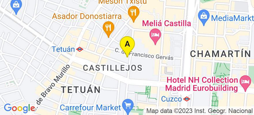 situacion en el mapa de . Direccion: c/ Orense 85, 28020 Madrid. Madrid