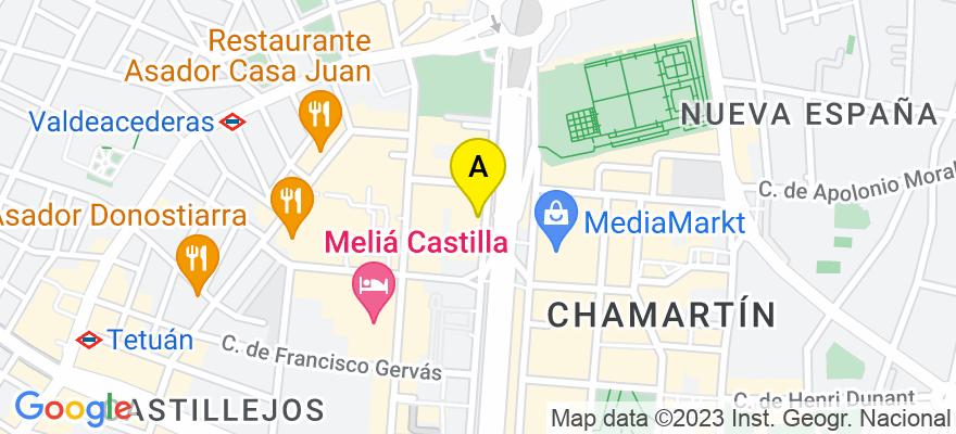 situacion en el mapa de . Direccion: Pase de la Castellana 179, 1-c, 28046 Madrid. Madrid