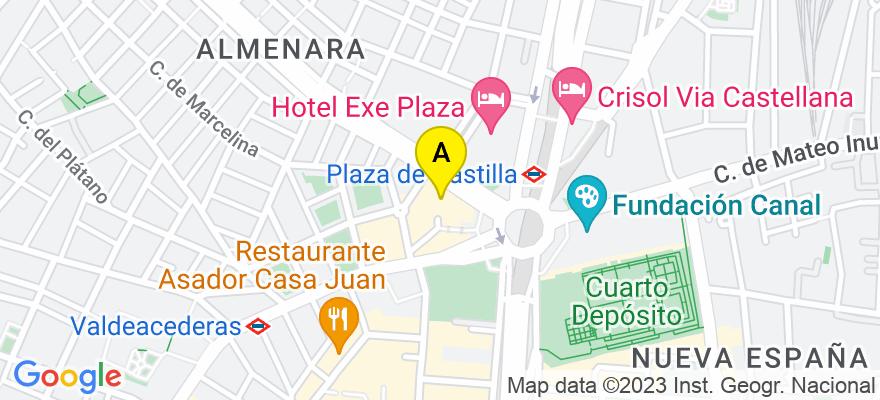 situacion en el mapa de . Direccion: PLAZA DE CASTILLA, nº 3; 10º E2, 28046 Madrid. Madrid