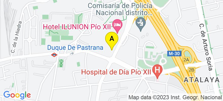situacion en el mapa de . Direccion: Avenida Pio XII, 75, 28016 Madrid. Madrid