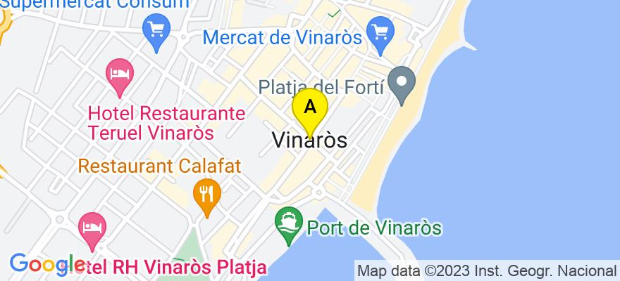 situacion en el mapa de . Direccion: calle Pilar nº 34, entlo., 12500 Vinaròs. Castellón de la Plana