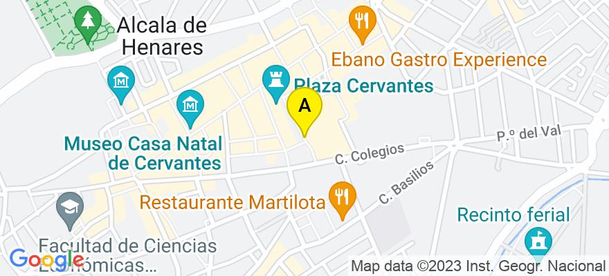 situacion en el mapa de . Direccion: Navarro y Ledesma 8 (local Aliaga), 28807 Alcalá de Henares. Madrid
