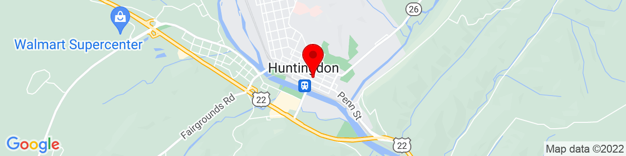 Google Map of 40.484722222222224, -78.01027777777777