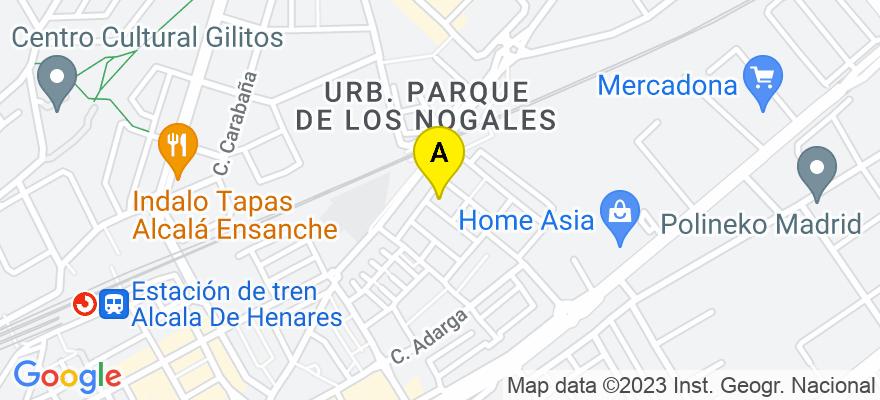 situacion en el mapa de . Direccion: francisco de huerta y vega 1 2 B, 28805 Alcalá de Henares. Madrid