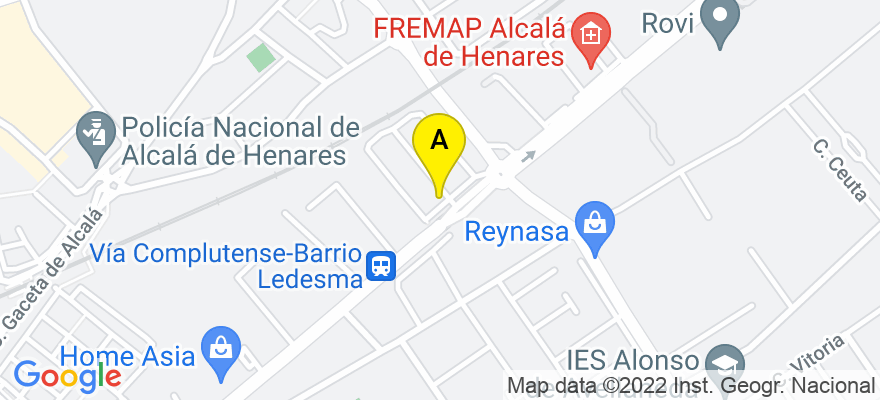 situacion en el mapa de . Direccion: VIA COMPLUTENSE 117 OF 2-4, 28805 Alcalá de Henares. Madrid
