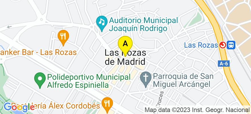 situacion en el mapa de . Direccion: Plaza de España, 10, 1ºB, 28231 Las Rozas de Madrid. Madrid