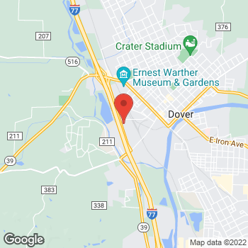 Map of Mighty Auto Parts at 555 Commercial Parkway, Dover, OH 44622