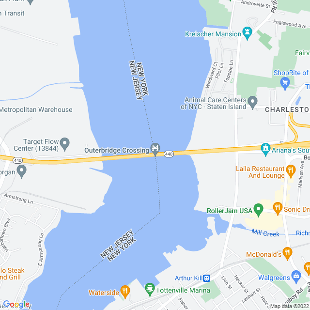 Map of Outerbridge Crossing