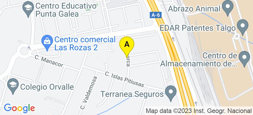situacion en el mapa de . Direccion: Menorca, 2, 28290 Las Rozas de Madrid. Madrid