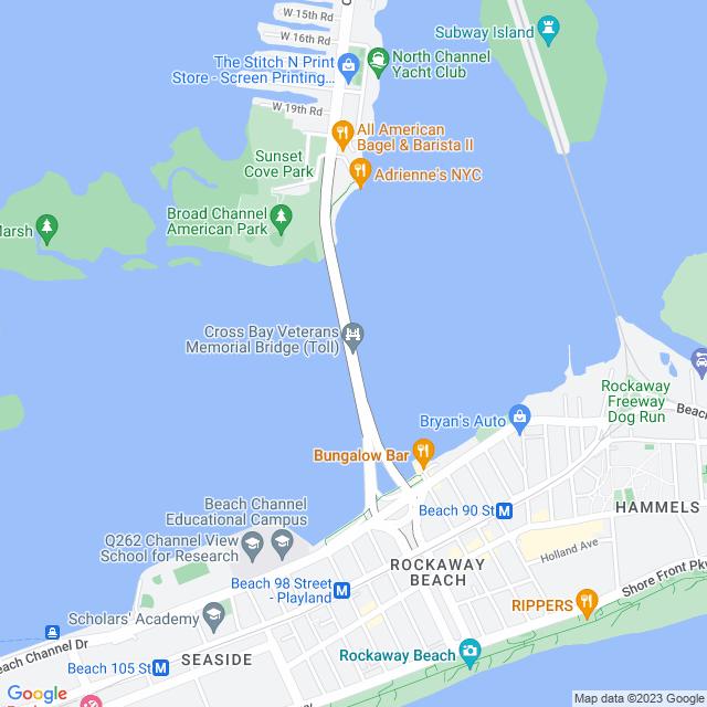 Map of Cross Bay Veterans Memorial Bridge