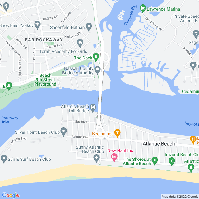 Map of Atlantic Beach toll Bridge
