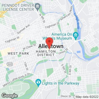 Map of Tim Hortons at 701 Hamilton St, Allentown, PA 18101